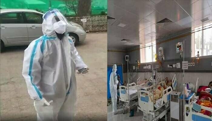 Drama of BJP leader wearing PPE kit at Kovid Center in Chhindwara
